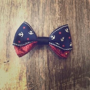 ANCHOR NAUTICAL GLITTER RED BOW